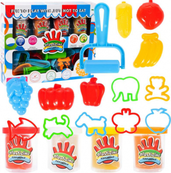 Set forme plastelina fructe si animale Malplay 107297