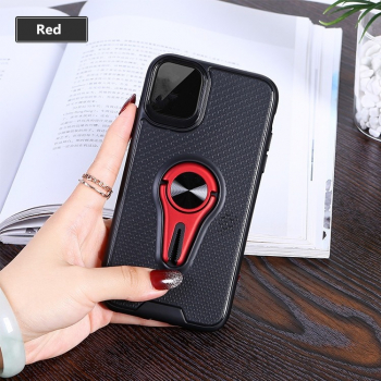 Husa cu inel forma Y iPhone 11 Pro Max neagra cu inel rosu rotativ 360 grade functie suport tpu Huse Telefoane