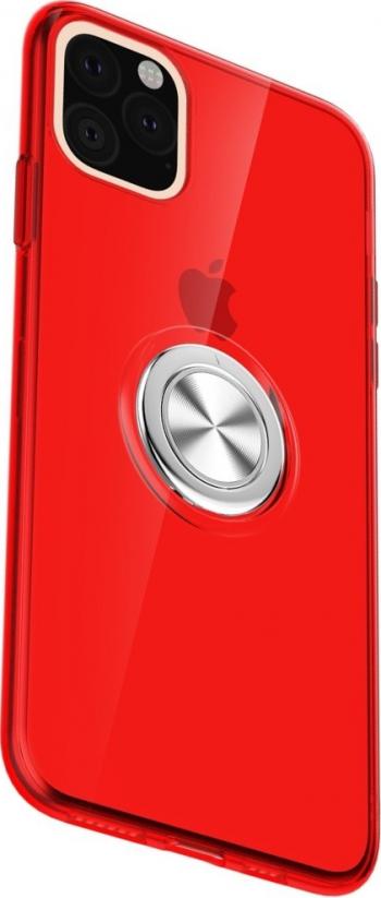 Husa cu inel rotativ iPhone 11 Pro Max rosie material tpu functie suport durabila Huse Telefoane