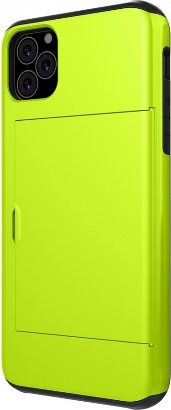 Husa cu slot de card iPhone 11 Pro Max verde model Rugged Armor material tpu si policarbonat Huse Telefoane