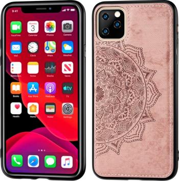 Husa din tpu si policarbonat iPhone 11 Pro rose gold textura material textil stil Mandala Huse Telefoane