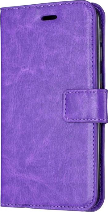 Husa flip book cover iPhone 11 Pro mov textura Crazy Horse slot card si poza functie portofel si stand Huse Telefoane