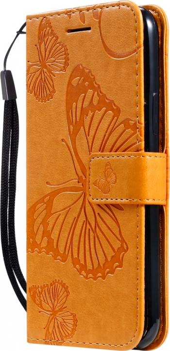 Husa flip cover iPhone 11 Pro maro deschis design Butterfly functie suport stand si portofel sloturi card Huse Telefoane