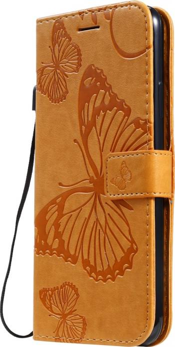 Husa flip cover iPhone 11 Pro Max maro deschis design Butterfly functie suport stand si portofel sloturi card Huse Telefoane