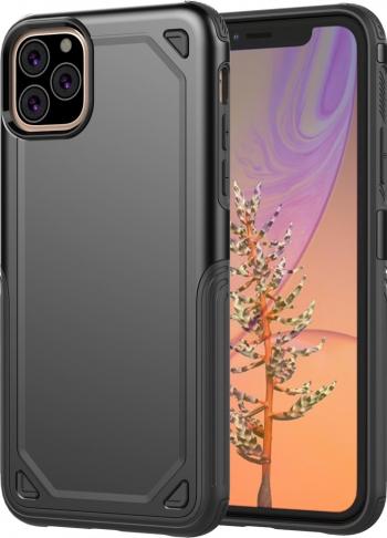 Husa iPhone 11 Pro Max neagra model Ultra-thin antisocuri stil Mechanic material tpu si policarbonat Huse Telefoane