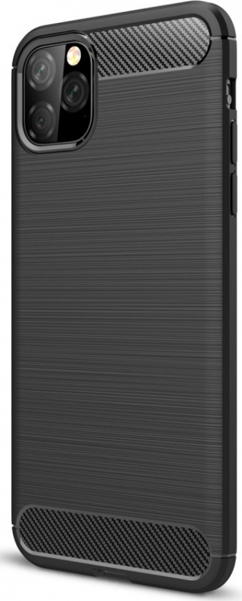 Husa iPhone 11 Pro neagra material tpu textura brushed model fibre carbon Huse Telefoane