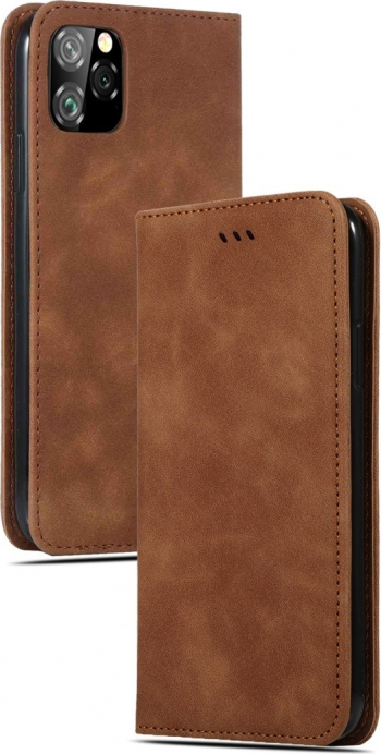 Husa magnetica flip cover iPhone 11 Pro Max maro model Retro Feel cu functie suport si sloturi carduri Huse Telefoane