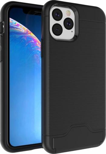 Husa model Ultra-thin cu suport stand iPhone 11 Pro negru cu slot card bancar policarbonat si tpu Huse Telefoane