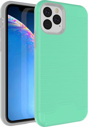Husa model Ultra-thin cu suport stand iPhone 11 Pro verde cu slot card bancar policarbonat si tpu Huse Telefoane
