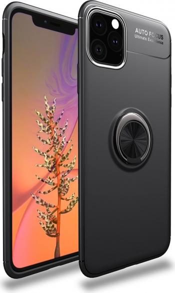 Husa originala Lenuo iPhone 11 Pro neagra cu inel negru metalic rotativ 360 grade TPU subtire Huse Telefoane