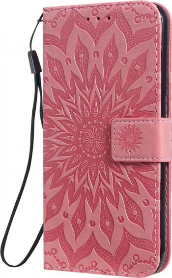 Husa tip carte iPhone 11 Pro Max roz design Sunflower clema inchidere suport si sloturi Huse Telefoane
