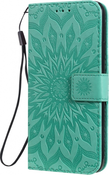 Husa tip carte iPhone 11 Pro Max verde design Sunflower clema inchidere suport si sloturi Huse Telefoane