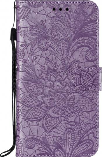 Husa tip carte iPhone 11 Pro mov piele model Lace Flower cu sloturi card si bani Huse Telefoane
