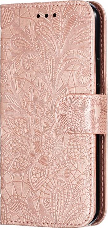 Husa tip carte iPhone 11 Pro rose gold piele model Lace Flower cu sloturi card si bani Huse Telefoane