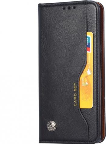 Husa tip carte model Card Set iPhone 11 Pro Max piele neagra cu sloturi card si bani functie stand Huse Telefoane