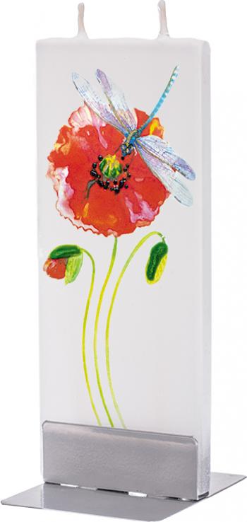 Lumanare Flatyz Dragonfly with Red Poppy