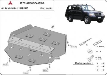 Scut auto metalic cutie de viteza + diferential Mitsubishi Pajero IV / toate motorizarile / 2007- Scuturi auto