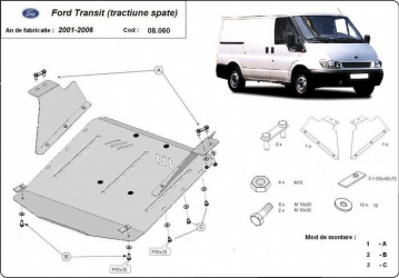 Scut auto metalic motor cutie de viteza Ford Transit / Tractiune spate 2001-2006 Ford Transit / Tractiune spate / 2007 -2013 Scuturi auto