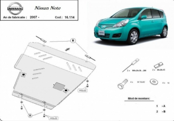 Scut auto metalic motor cutie de viteza Nissan Note / toate motorizarile / 2007- Nissan Tiida / 1.6 / 2007- Scuturi auto