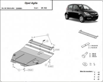 Scut auto metalic motor cutie de viteza Opel Agila / toate motorizarile / H08/ 2008- Suzuki Splash / toate motorizarile / 2009- Scuturi auto