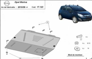 Scut auto metalic motor cutie de viteza Opel Meriva / toate motorizarile / 2010/06 - Scuturi auto