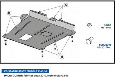 Scut auto metalic motor cutie de viteza pentru Dacia Duster / Toate motorizarile / 2010 and ndash Scuturi auto