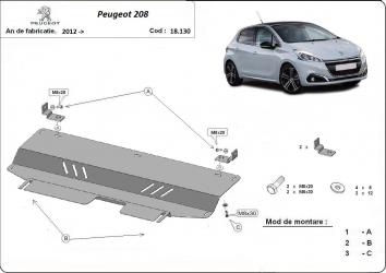 Scut auto metalic motor cutie de viteza Peugeot 208 / toate motorizarile / 2012- Peugeot 2008 / toate motorizarile / 2012- Scuturi auto