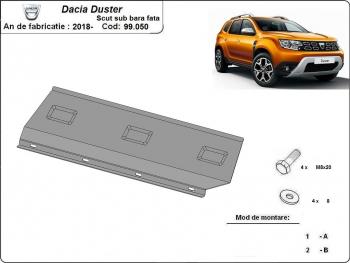 Scut auto metalic motor Dacia Duster scut sub bara fata / toate motorizarile / 2018- Scuturi auto