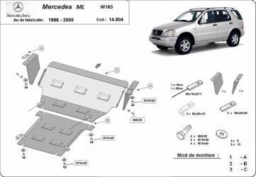 Scut auto metalic motor Mercedes ML W163 / 1998-2005 Scuturi auto