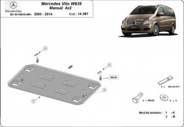 Scut auto metalic motor Mercedes Viano W639 / 4 and times 2 2.2D / 2003-2014 Scuturi auto