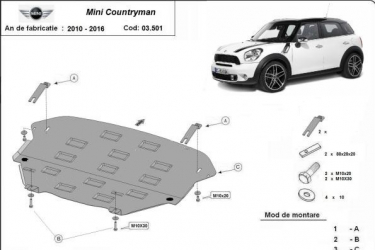 Scut auto metalic motor Mini Countryman / / 2010-2016 Scuturi auto