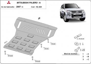 Scut auto metalic motor Mitsubishi Pajero IV / toate motorizarile / 2007- Scuturi auto