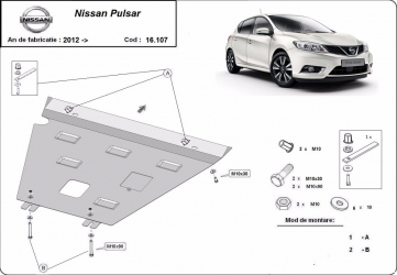 Scut auto metalic motor Nissan Pulsar 2012- / 2012- Scuturi auto