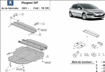 Scut auto metalic pentru motor MTR PEUGEOT 307 Scuturi auto