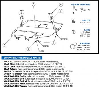 Scut metalic auto motor cutie de viteza Audi Seat Skoda Volkswagen Scuturi auto