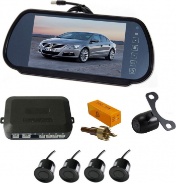 Senzori parcare cu camera video si display LCD de 7 in oglinda T24 Gri Alarme auto si Senzori de parcare