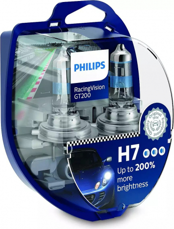 Set 2 becuri auto Philips H7 Racing Vision GT200 +200 12V 55W