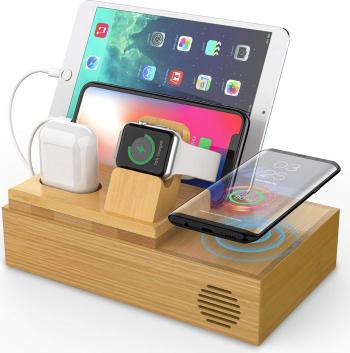 Statie de incarcare pentru iPhone 12 airpods si iWatch incarcare wireless bambus natural Incarcatoare Telefoane