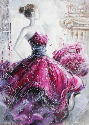 Tablou pictat manual Ballerina pink 120x80 cm Roz Tablouri