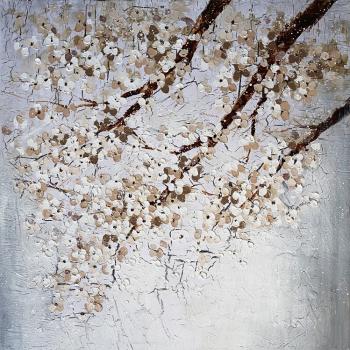 Tablou pictat manual Flowers White 100 x 100 cm Alb Tablouri