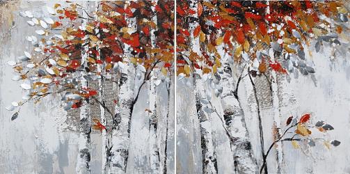 Tablou pictat manual Set paintings trees 100 x 100 cm Maro Tablouri