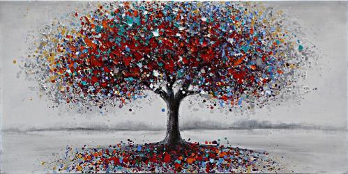 Tablou pictat manual Tree red bue 60 x 120 cm Rosu Tablouri
