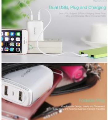 Incarcator retea Usams U2+ Dual USB HTC One E9 Alb Incarcatoare Telefoane