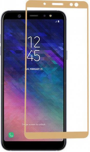 Folie de protectie Samsung Galaxy A6 Plus 2018 / Samsung Galaxy A6+ 2018 Folie sticla securizata 3D Gold Auriu FULL SCREEN Tempered Glass Folii Protectie