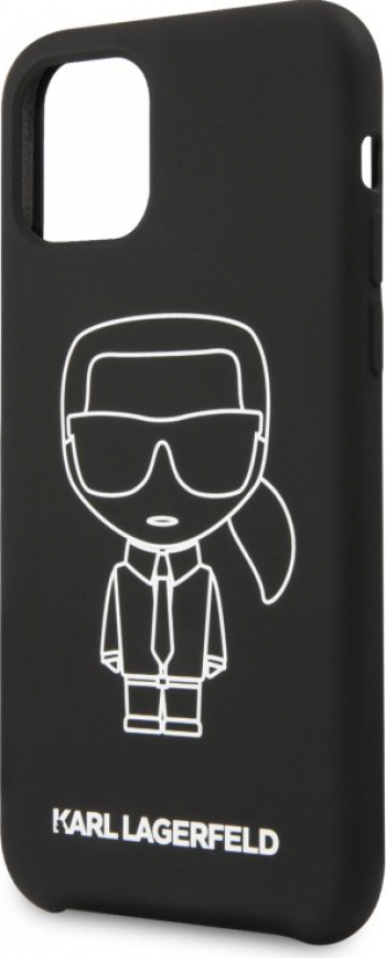 Husa Cover Karl Lagerfeld Iconic White Silicone pentru iPhone 11 Pro Max Black Huse Telefoane