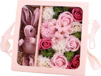 Aranjament flori de sapun asortate 12 bucati culoare roz