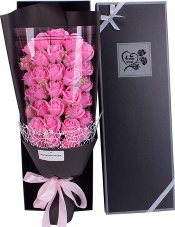 Buchet bogat trandafiri de sapun 33 bucati ambalaj cutie cadou culoare roz
