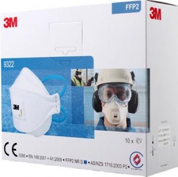 Set 10 x masti de protectie respiratorie FFP2 3M 9322+ Aura cu supapa / valva Certificate CE Masti chirurgicale si reutilizabile