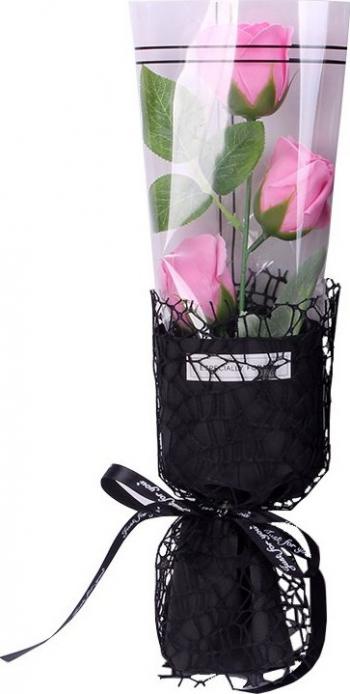 Trandafir de sapun intreg cu 3 flori roz ambalaj tip buchet 35 cm