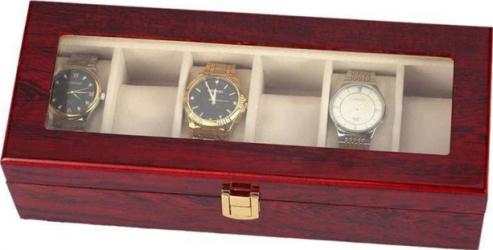 Cutie caseta din lemn pentru depozitare si organizare 6 ceasuri model Premium Accesorii ceasuri